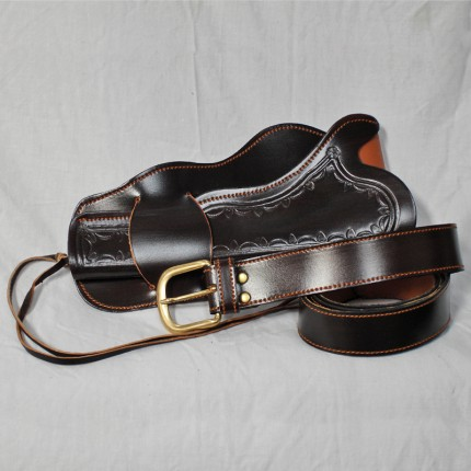 Dark Brown Leather Western Style Single Holster and Belt – One Size – Made in Spain - HR-M02