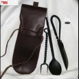 Cutlery Set - Spoon Knife and Fork with Leather case - OB3350