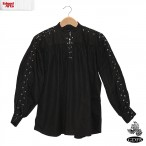 Cotton Shirt - Laced Neck & Sleeves - Black - Extra Large - GB3047