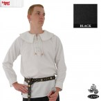Cotton Shirt - Round Collar with Laced Neck - Black - X Large - GB3649