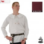 Cotton Shirt - Round Collar, Laced Neck - Burgundy - Large - GB3631