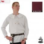 Cotton Shirt - Round Collar, Laced Neck - Burgundy - Medium - GB3638