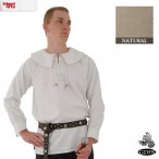 Cotton Shirt - Round Collar, Laced Neck - Natural - Medium GB3639