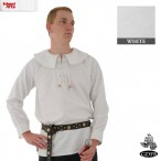 Cotton Shirt - Round Collar, Laced Neck - White - Large - GB3634