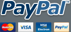PayPal payments accepted and Mastercard, Visa, and Visa Electron